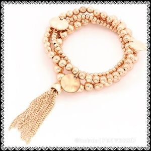 Three-Strand Rose Gold Ball Charm Tassel Bracelet